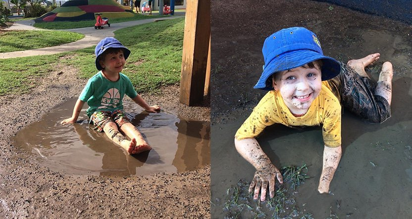 Two photos of kids playing playing in the dirt