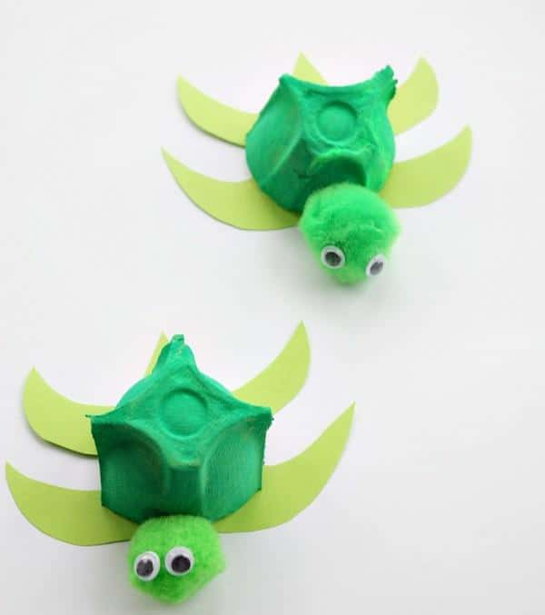 Little green turtles made out of repurposed egg carton, green paper and a few other materials