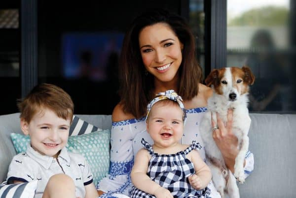 Giaan Rooney and her two kids as she shares her postpartum journey