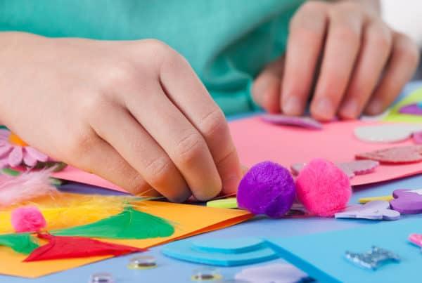 Child doing craft activities