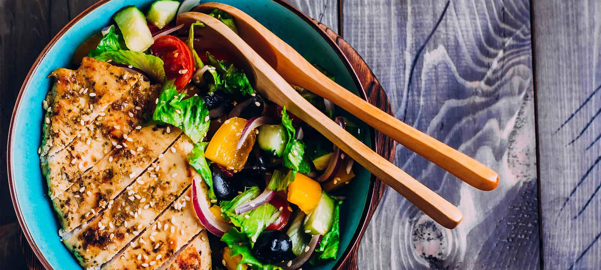 Greek Salad and Spiced Grilled Chicken