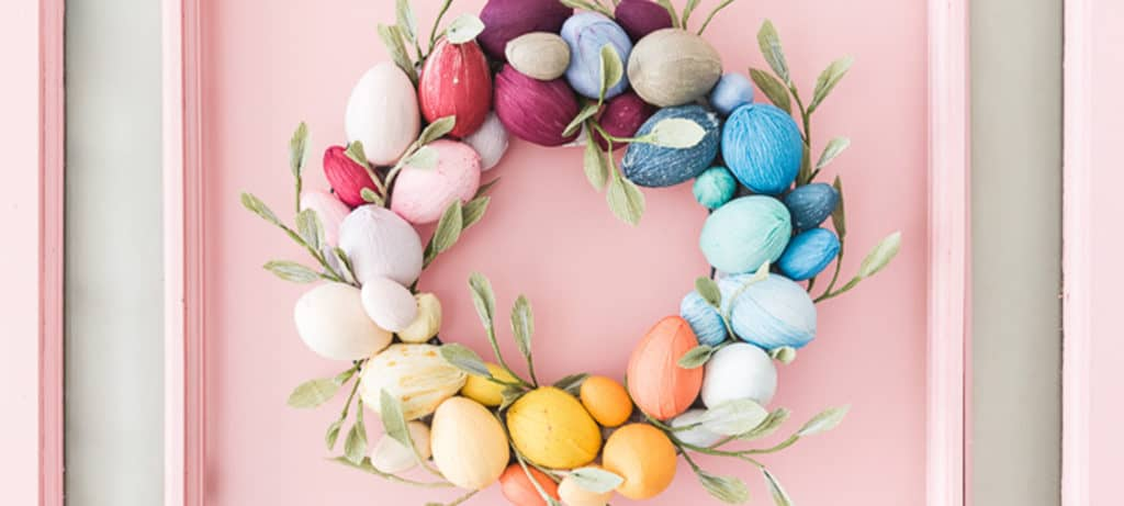 Easter crafts for kids - Rainbow Easter Egg Wreath
