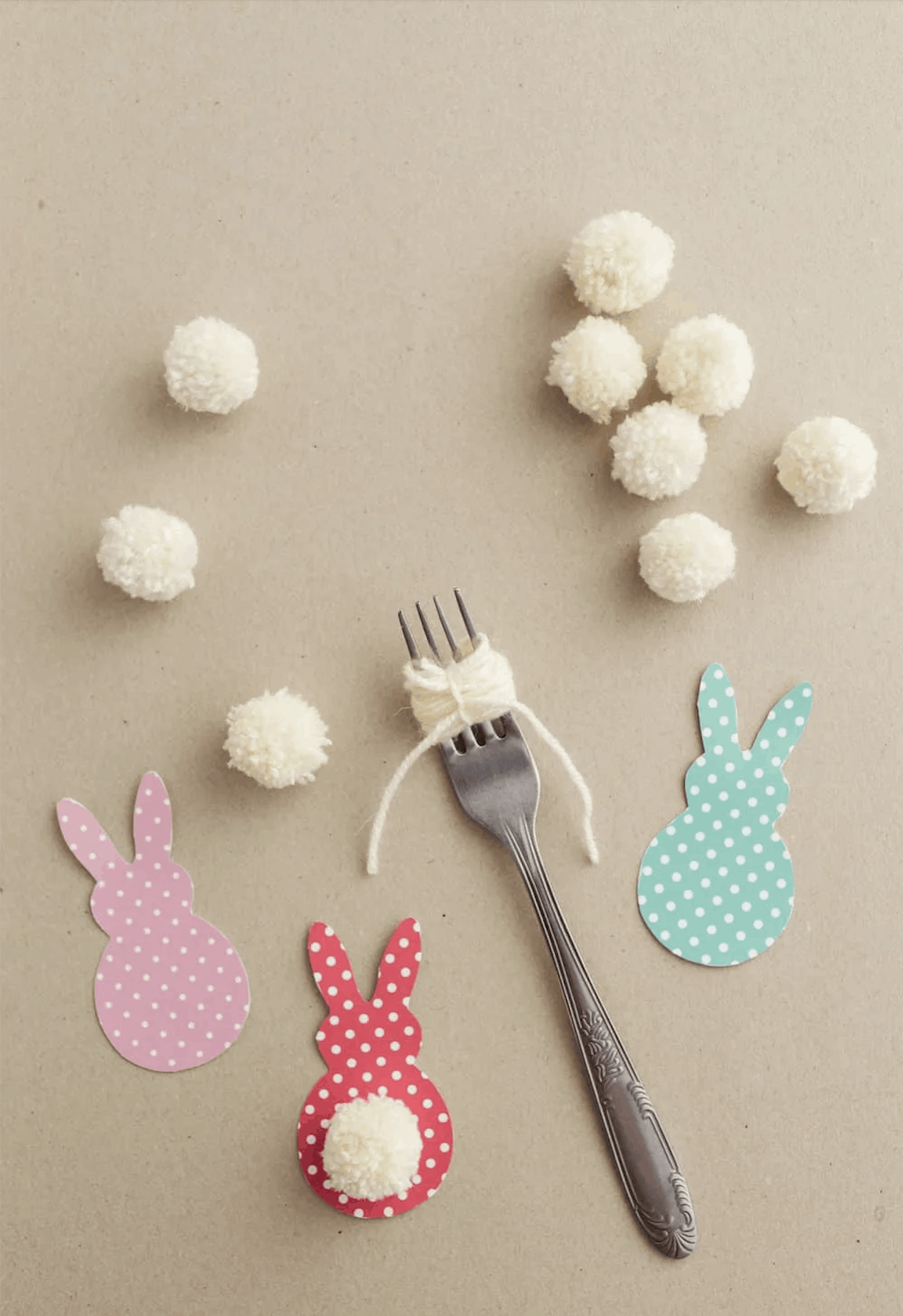 Materials for Easter Bunny Garland craft for kids