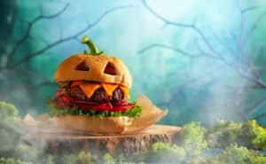 Spooky Jack-o'-lantern Burger